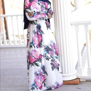 NWTO KABAYARE LONG FLORAL DRESS MODEST ABAYA